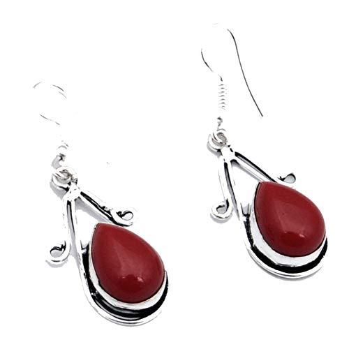 PENDIENTE DE CORAL rojo de 1,75 'de largo, chapado en plata de ley, joyería artística hecha a mano, tienda de variedad completa