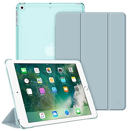 Fintie Funda Compatible con iPad 9.7 (2018/2017) con Soporte Integrado para Pencil - Trasera Transparente Carcasa Ligera Función de Auto-Reposo/Activación, Azul Hielo
