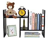 PAG Adjustable Desktop Bookshelf Countertop Bookcase Wood Desk Storage Shelf Organizer Literature Display Rack, Black