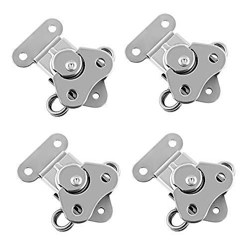 QWORK 4 Pack 304 Stainless Steel Twist Latch with Keeper and Spring Butterfly Draw Latch for Case Box