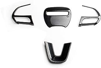 JSTOTRIM Steering Wheel Carbon Fiber Moulding Chrome Cover Trims kit for 2016 2017 2018 2019 2020 Dodge Challenger Charger Accessories