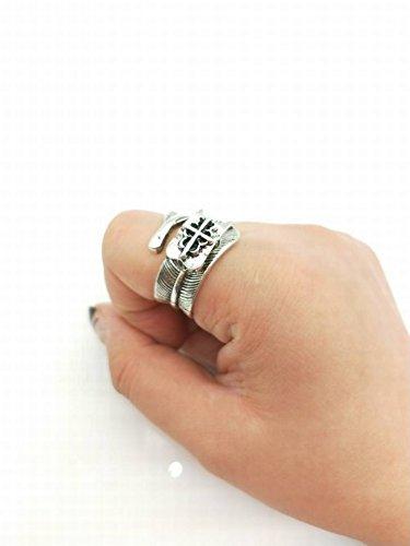 Vintage Feder Thai Silber Magnet Stahl Messer Zusammenklappbare Selbstverteidigung Ring Legierung Vintage Blätter Überzug Unisex, Foto Farbe, Öffnung einstellbar