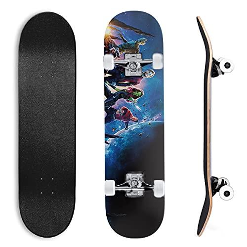Guardianes de la Galaxia Star Lord Peter Quill y KamoraSkateboardsComplete Skateboards Double Kick Longboard para Adolescentes, Principiantes, niñas, niños, 7 Capas de Madera de Arce, 31 'x 8'