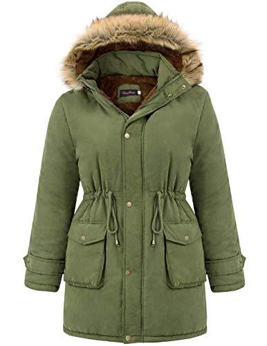 Womens Hooded Warm Winter Fleece Lined Plus Size Parkas Coats Army Green 24W