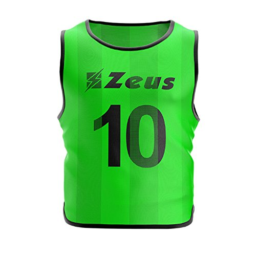 Zeus Casacca Promo NUMERATA CONF. 10 Pezzi NUMERAZIONE da 2 A 11 - Calcio Corsa Allenamento Sport Jogging (Senior, Verde Fluo)