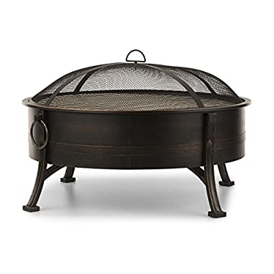 Blumfeldt Catania - 2-in-1 fire Bowl Ø 80 cm, Fireplace, Antique Look, Spark Protection, Ø 70 cm Grill Grate, Grill Steel, Heat-Resistant Lacquer, Charcoal or firewood, Poker incl, Black by Blumfeldt