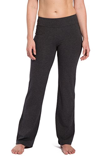 Fishers Finery Women's Bootleg Yoga Pant; Back Pockets (H Gry, XL) Heather Gray