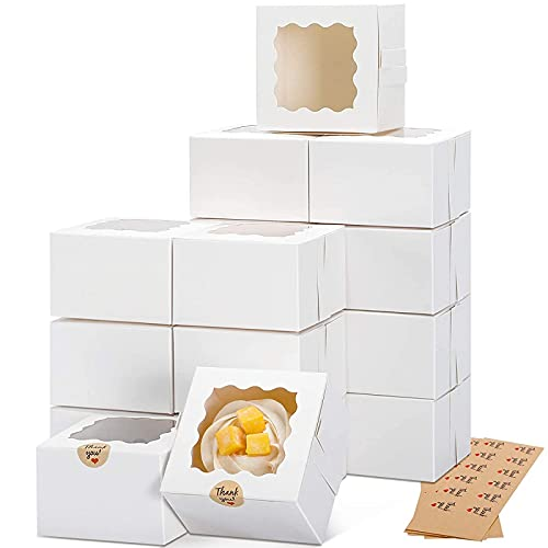 Moretoes 50pcs 4x4x2.5 Inches White Bakery Boxes with Window Eco Friendly Paper Cardboard Gift Boxes for Pastries, Cookies, Pie, Cupcakes