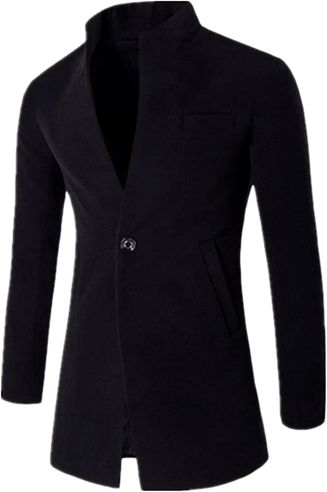 Business Wool Blends Coat Men Winter Long Coats Slim Windbreaker Collar Casual