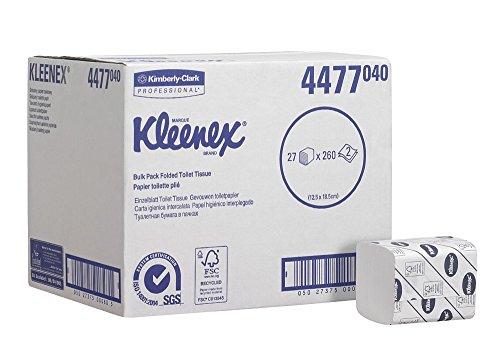 KLEENEX* 27 Toilet Tissue Toilettenpapier, Einzelblattsystem, 4477 – 27 Packungen x 260 weiße, 2-lagige Blätter