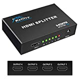 KELIIYO Hdmi Splitter 1 in 4 Out V1.4b Powered Hdmi Video Splitter with AC...