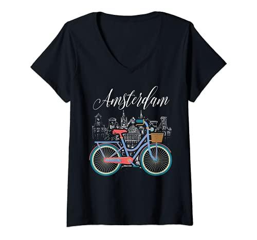 Donna Love Cycling Luv Amsterdam Retro Bike Idea Regalo Design Maglietta con Collo a V