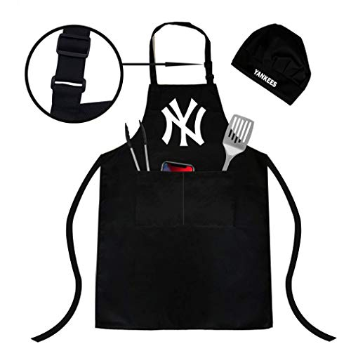 Northwest Yankee Adjustable WaterResistant Apron Chef hat Two Spacious Pockets Unisex Fully Reflecting The Attributes of Fans Yankee Apron