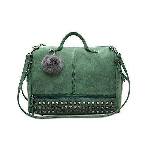 NICOLE & DORIS Umhängetasche für Damen Henkeltasche Boston-Taschen Einkaufstasche, Schultertasche mit Bommel Grün