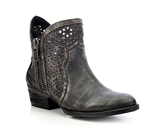 CORRAL Women's Circle G Ankle Boot Cowhide Round Toe Boot (9) Charcoal