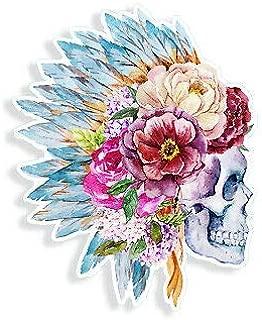 Yilooom Skull Flower Sticker Indian Headdress Sugar Tattoo Cup Car Window Bumper Decal