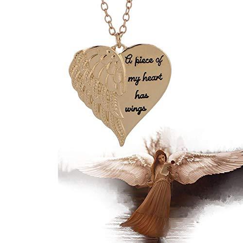 """FTIK Collar De Alas De áNgel """"A Piece of My Heart Has Wings Collar con Colgante De Letras Regalo - Vida Diaria Viajes Compras Citas Collar para Mujeres Oro"""