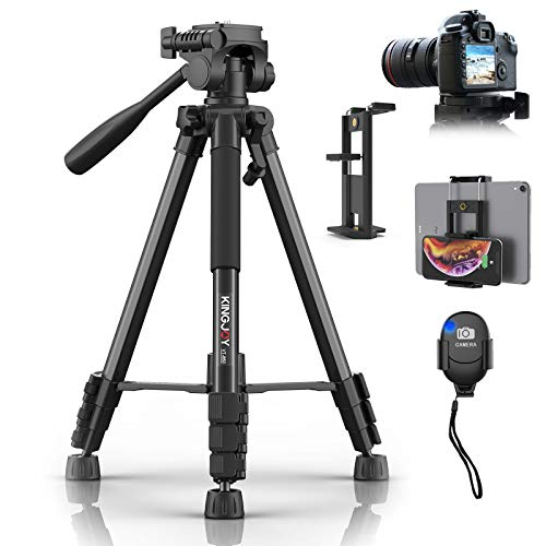 58 inch Camera Tripod for Canon Nikon Lightweight Aluminum Travel DSLR Phone Camera Tripod with 2 in 1 Phone Tablet Holder/Remote Shutter/Carry Bag