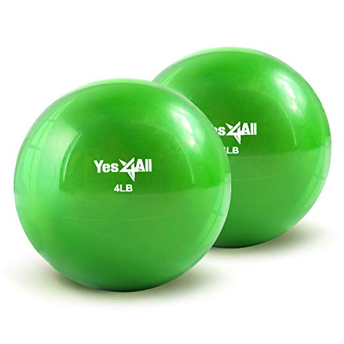 Yes4All Soft Weighted Toning Ball/Medicine Sand Ball – Great for Exercise, Workout – Soft Weighted Ball (4 lbs, Green) – Total Weight: 8 lbs (Pair)