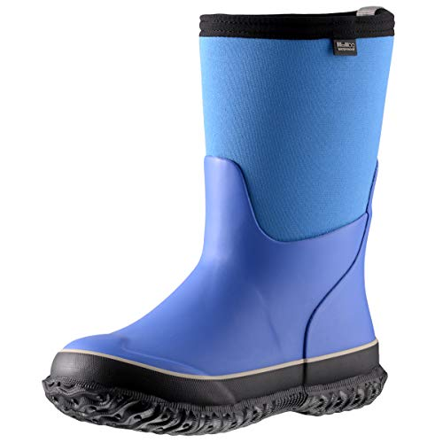 MCIKCC Kids Waterproof Rain Boots,High Snow Boots for Toddler Boys Girls,Textile Rubber Sole,5M Blue and black