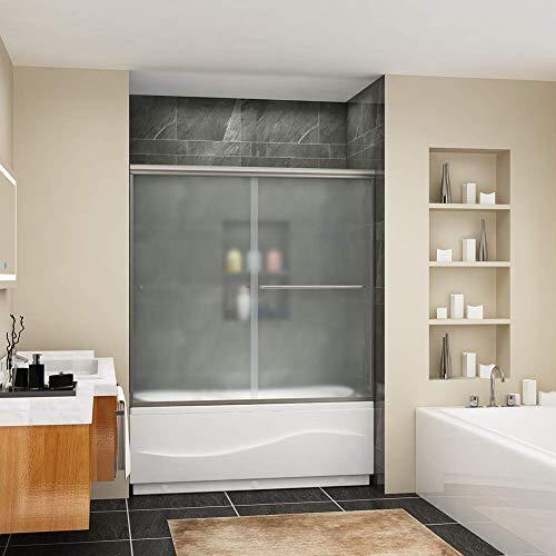 SUNNY SHOWER 60' W x 57.4' H Frosted Glass Shower Door Sliding Bathtub Door 1/4' Glass Panel, Brushed Nickel Finish