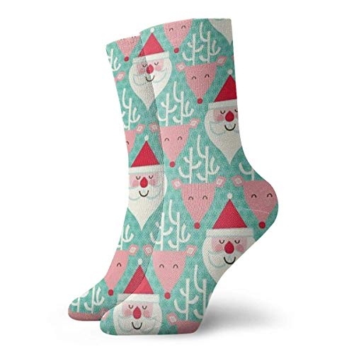 Men's And Women Socks- Santa Reindeer Colorful Funny Novelty Crew Socks