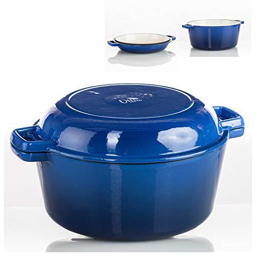 Ottia 2 in 1 Gusseisen Kochtopf, Bräter mit Pfanne, Induktionsschmortopf Emailliert, Dutch Oven Set Rund 26 cm, 5,5 L(Blau)