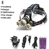 ヘッドライト T6 XM-L + 2Q5 LEDヘッドライト8000LMヘッドランプ懐中電灯ヘッドトーチLinterna XML T6 18650電池/ AC車の充電器釣りライト (Emitting Color : E)