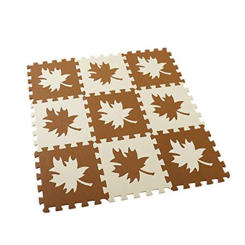 SODIAL 9Pcs Baby Eva Foam Puzzle Mat Kids Star Rugs Juguetes Alfombra para Ni?os Ejercicio de Enclavamiento Baldosas de Suelo-Hoja de Arce