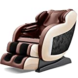Real Relax 2020 3D Massage Chair Recliner with Bluetooth, Space Saver, Body Scan, SL Track, and Assembled (Brown)