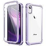 Dexnor Funda para iPhone XR (6.1''), Carcasa con Parachoques de Silicona de 360 Grados, [A Prueba de Golpes] [Ligero] Panel Posterior Transparente, Protector de Pantalla Incorporado - Morado