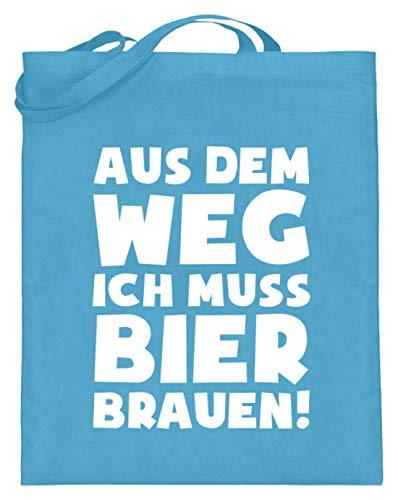 shirt-o-magic Braumeister: Muss Bier brauen! - Jutebeutel (mit langen Henkeln) -38cm-42cm-Hellblau