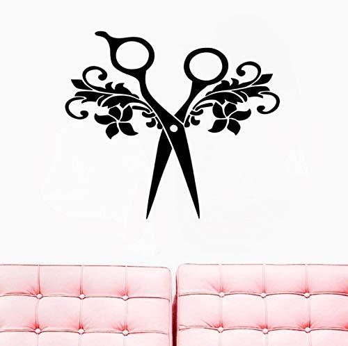 Wandaufkleber Wandbilder Abziehbilder Friseursalon Zeichen Schere Friseur Aufkleber Friseur Friseur Salon Salon Türfenster 64X56cm