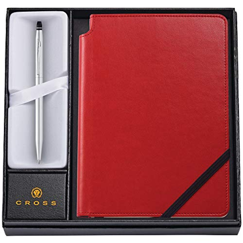 Cross Journal Set | AT Cross Personalized Pen and Journal Gift Set - Cross Click Chrome Ballpoint with a Crimson Red Journal - Engraved. Comes in gift box.