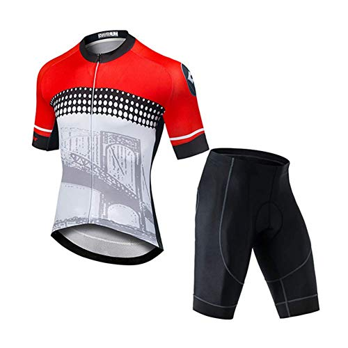 OJKYK - Maillot de ciclismo para hombre, manga corta, secado rápido, transpirable, camiseta + pantalones cortos acolchados 3D para verano, MTB, extra-large