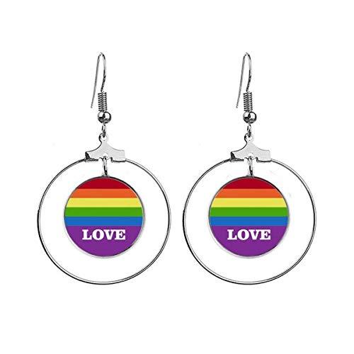 Liefde LGBT Regenboog Homo Art Deco Gift Mode Oorbellen Dangle Hoop Sieraden Drop Cirkel