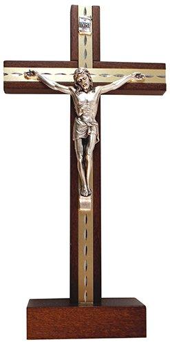Biblegifts - Crucifijo de pie de 24 cm con incrustaciones de metal de madera oscura para corpus christi Jesús de cruz ideal para nubes, monjes, pastores, vicares o Ministros. En caja de regalo.