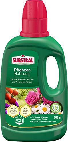 Substral Pflanzennahrung Nahrung, Qualitäts-Flüssigdünger für alle Grünpflanzen im Zimmer auf Balkon, Terrasse und Beet mit natürlichen Biostimulanzien, 500 ml
