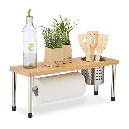 Relaxdays Küchenregal für Arbeitsplatte, Küchenrollenhalter & Besteckkorb, Gewürzregal, Bambus & Edelstahl, natur/silber