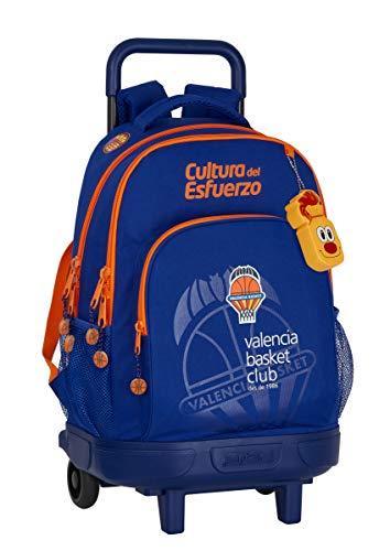 Safta Mochila Escolar con Carro Incluido y Espalda Acolchada de Valencia Basket, 330x220x450mm