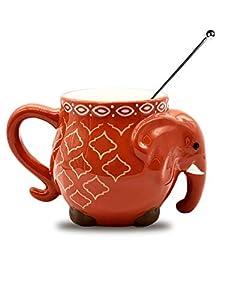 Elephant Colorful Coffee Tea Cup Mug 17.5oz Bundle: Coffee Mug & Coffee Stirrer (Orange (one piece))