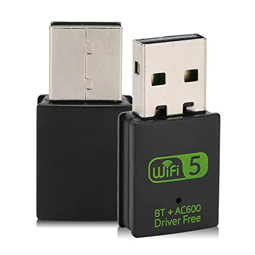 fasient1 USB WiFi Adaptador Bluetooth 600 MB de Doble Banda 2.4G / 5G Wireless WiFi Dongle Tarjeta de Red Receptor inalámbrico Controlador Gratuito para computadora portátil con Windows 7/8 / 8.1/10
