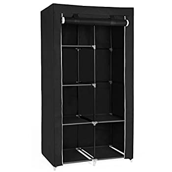 SONGMICS 34 Inch DIY Closet Organizer Portable Wardrobe with Non-Woven Fabric Multiple Ways to Assemble Meets Different Needs Black URYG84BK