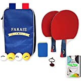 FAKAIS Palas de Ping-Pong Profesional, 2 Raquetas - 4 Pelotas pingpong, Bolas - Bolsa de Almacenamiento Segura, Esponja de Raqueta -Ideal Juegos con ninos, Adulto, los Amigos o en competición