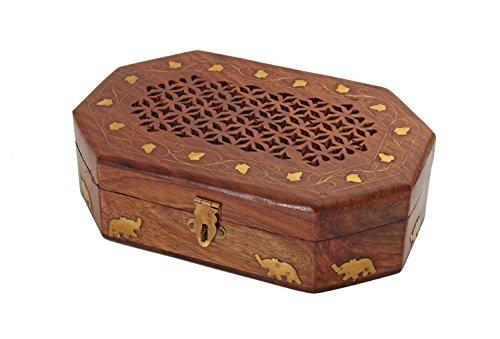 Store Indya, organizador de la caja de almacenamiento tallada a mano joyero de madera con incrustaciones de laton con motivos de elefantes
