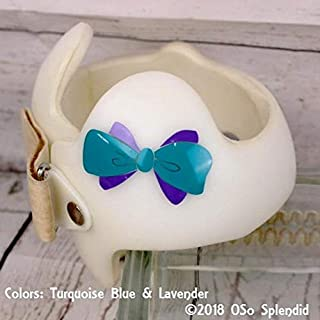 CECILIAPATER Simple Two Tone Bow Sticker for Baby Helmet - Any Size - Any Color - Cranial Band Decals - DOC Band Decorations