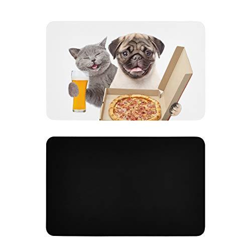 Imán Cuadrado de Cocina Gato Divertido con Cerveza y Cachorro con Caja de Pizza Abierta Imanes Divertidos Imanes de PVC para Nevera Accesorios de Cocina Divertidos Decorativos 4x2.5 Pulgadas