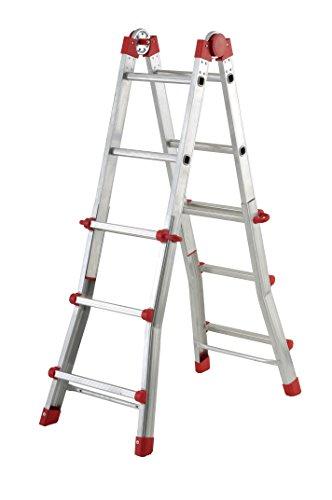 Hailo 7516-151 aluminium multifunctionele telescopische ladder MTL, 4 x 3 sporten - te gebruiken als aanleg- en schuifladder, aan beide zijden staande en trapladder
