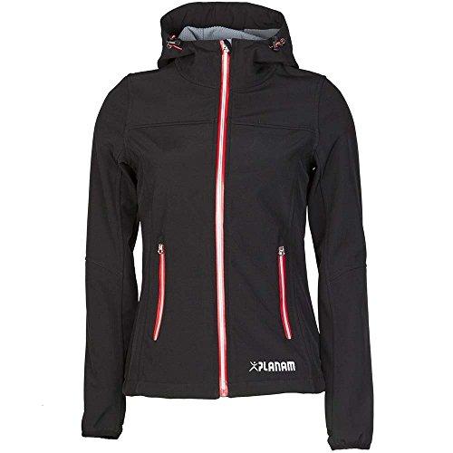 Planam Damen Sofshell Jacke Winter Unit, größe XS, schwarz / rot / mehrfarbig, 3735040