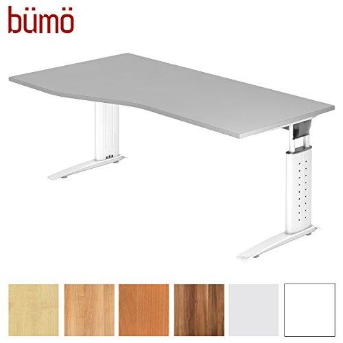 bümö® Schreibtisch höhenverstellbar 68-86 cm | Bürotisch mit Gestell in weiß | Büroschreibtisch | Tisch für's Büro & PC in Top Qualität - Freiform: 180 x 100 cm, Grau